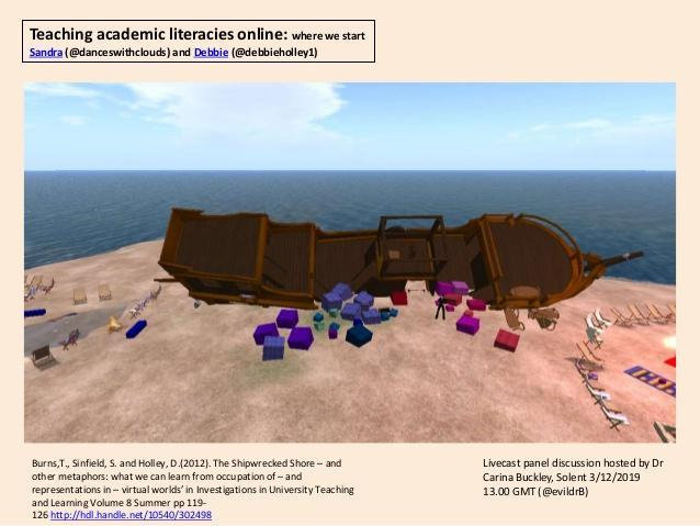 Teaching academic literacies online: where we start Sandra (@danceswithclouds) and Debbie (@debbieholley1) Burns,T., Sinfi...