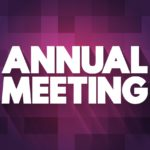 """puple box with the words """"Annual meeting"""" in white letters"""