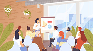 Business seminar, conference vector illustration.