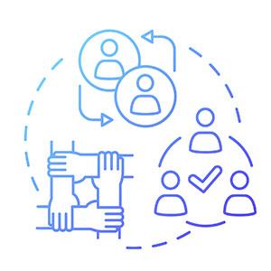Peer mentoring concept icon.