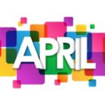 The word April in white font against a background of lots of coloured bright boxes