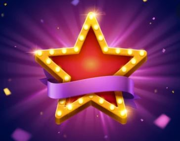 a picture of a gold star on a purple background.