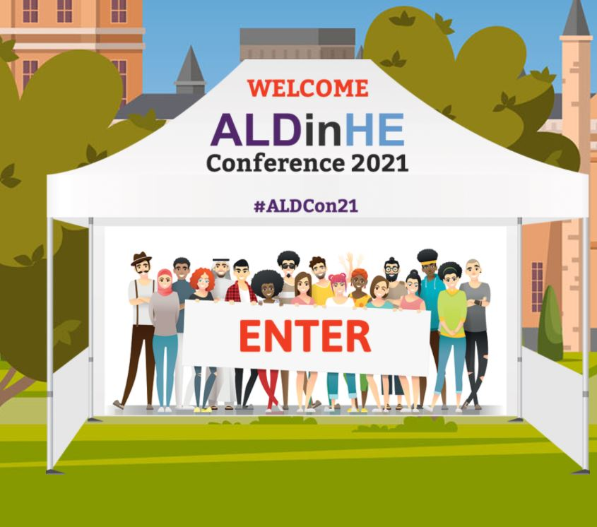 a picture of the aldcon homepage on the website. It features a white marquee with an illustration of delegates and the word enter.