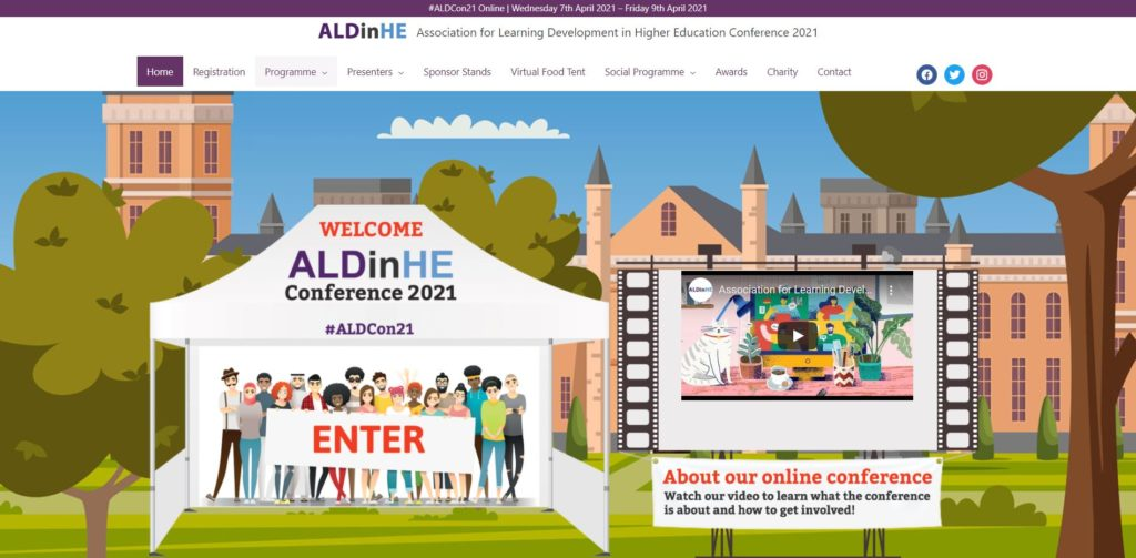 picture of the ALDinHE conference website homepage