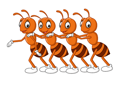 Illustration of four Ants working together