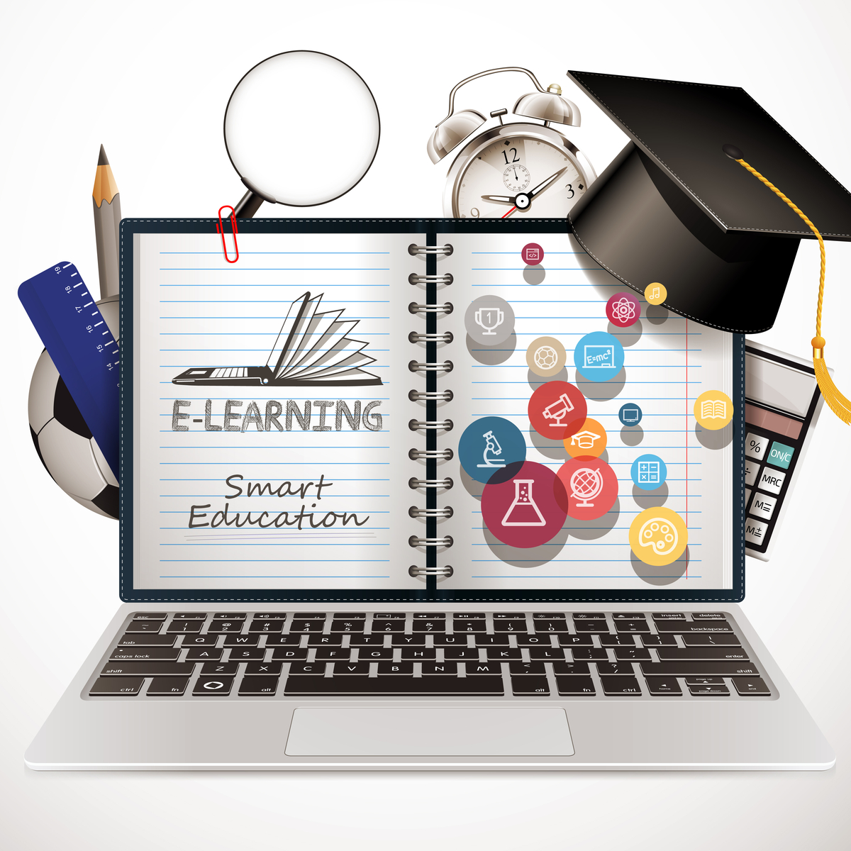 Illustration of a Laptop surrounded by lots of educational images, such as calculators, pencils and rulers.